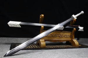 "Han jian(High carbon steel etched blade,Metal scabbard,Alloy)Length 39"" - Chinese sword shop"
