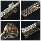Han jian sword,Damascus steel blade,Brass fittings