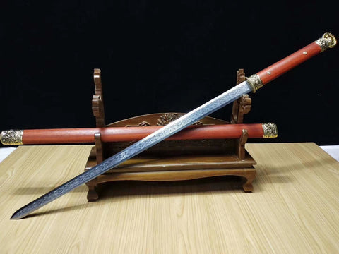 Hexahedral han jian,High carbon steel etch blade,Alloy fittings&Handmade art - Chinese sword shop