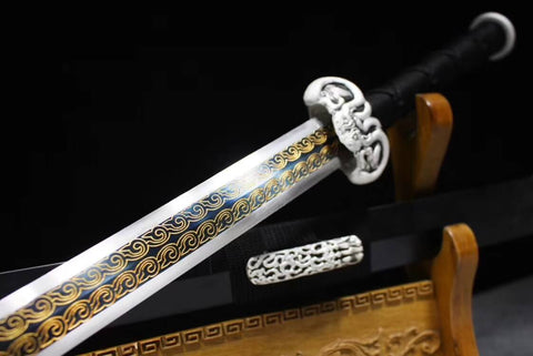 Han sword,Hand Forged(High manganese steel blade,Black wood,Alloy)