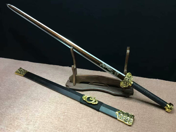 Han jian,Handmade Damascus steel red blade,Black wood,Alloy - Chinese sword shop