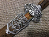 jian,High manganese steel blade,Rosewood scabbard,Silver alloy fitting