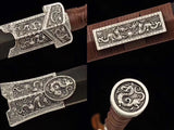 Qin jian,Handmade Damascus Steel red blade,Black wood,Alloy