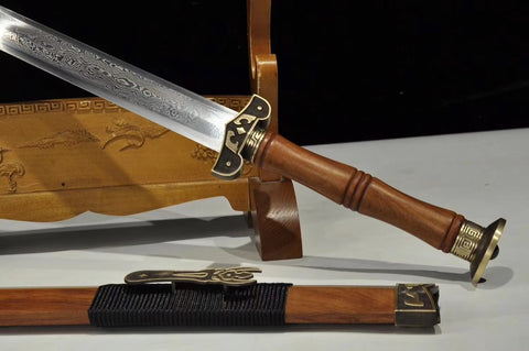Han jian sword,Damascus steel blade,Redwood,Brass - Chinese sword shop