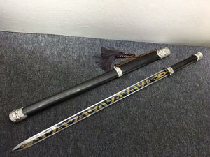 Longquan sword,High carbon steel etch blade,Black wood,Alloy fittings - Chinese sword shop