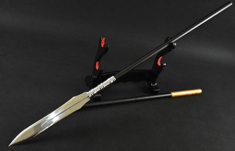China Spear,High manganese steel Spearhead,Black rod - Chinese sword shop