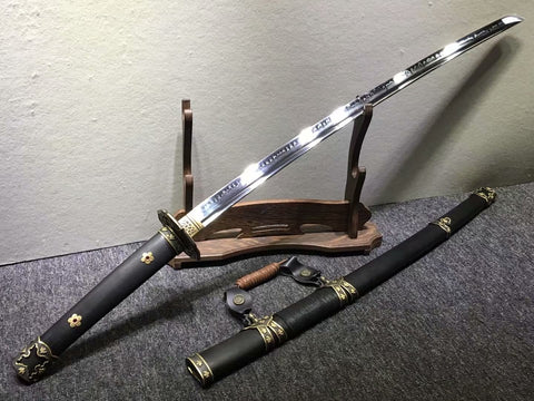 Nihontou Tachi,Nodachi,High carbon steel burn blade,Brass tosogu,Black wood