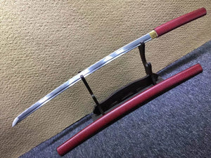 Katana,Medium carbon steel bade,Red paint crack scabbard - Chinese sword shop