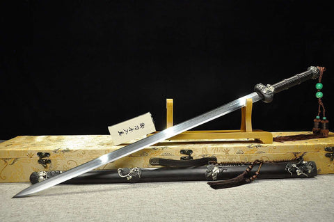 "Gourd sword(Damascus steel blade,Ebony Scabbard,Brass fittings)Length 43"" - Chinese sword shop"