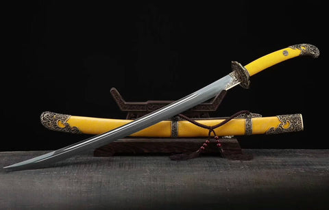Qing imperial sword,Broadsword(Folded steel blade,Yellow Scabbard,Brass fitting)Length 37""