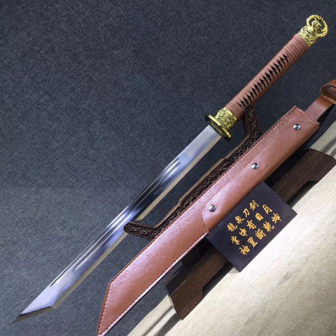 Ring-pommel machete,High carbon steel blade,Leather scabbard