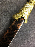 Husa Knife,Hu SA Chang Dao,High carbon steel blade,Leather - Chinese sword shop