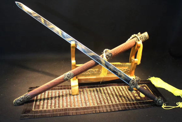 Dragon Sword,Medium carbon steel etch blade,Rosewood,Alloy - Chinese sword shop