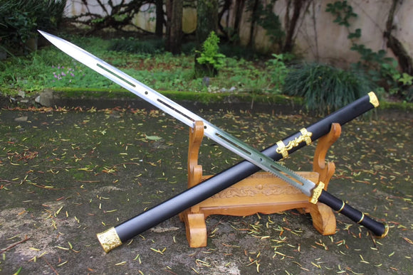 Flying shark sword,High carbon steel blade,black wood scabbard - Chinese sword shop