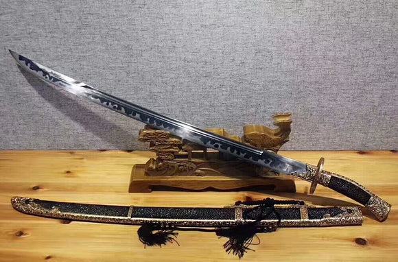 Broadsword(Pattern steel burn blade,Black skin scabbard,Brass fitting)Handmade art - Chinese sword shop