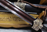 Yuewang sword,Damascus steel blade,Black wood scabbard,Brass