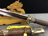 Longquan sword,Handmade Damascus steel blade,Alloy fittings,Rosewood - Chinese sword shop