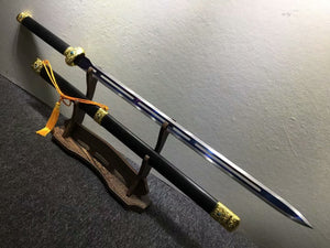 Jinlan sword,High manganese steel hollow blade,Black wood,Alloy fittings - Chinese sword shop