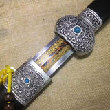 Jinlan sword,Damascus steel etch blade,Alloy fitting,Black scabbard - Chinese sword shop