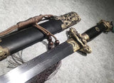 Jiulong sword,Damascus steel blade,Black wood,Brass fittings - Chinese sword shop