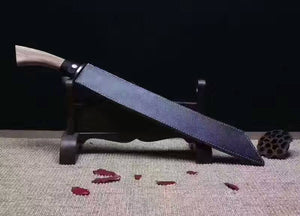 Hacking knife,Broadsword,High speed steel,Leather scabbard - Chinese sword shop