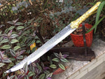 Hunting knife,High carbon steel etching blade,Leather scabbard,Alloy fitting