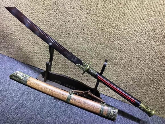 Kangxi sword,Damascus steel red blade,Alloy fittings,Rosewood scabbard - Chinese sword shop