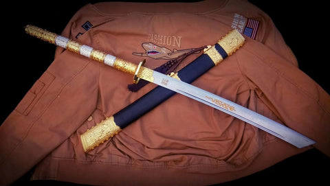 Kangxi baodao sword,Damascus steel blade,Alloy fittings - Chinese sword shop