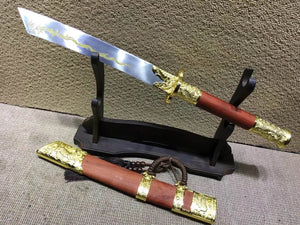 "Kangxi dagger,High carbon steel,Red scabbard,Alloy fitted,Length 27"" - Chinese sword shop"