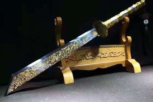 "Kangxi sword,Saber(High carbon steel blue blade,Alloy fitted)Length 35"" - Chinese sword shop"