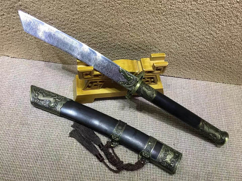 Kangxi Short swords(High carbon steel,Black scabbard,Alloy)Length 26""