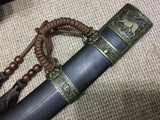 "Kangxi dagger,High carbon steel,Black scabbard,Alloy,Length 27"" - Chinese sword shop"