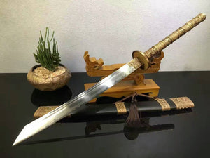 Kangxi sword/T10 high carbon steel/Brass carved fitted/Black scabbard - Chinese sword shop