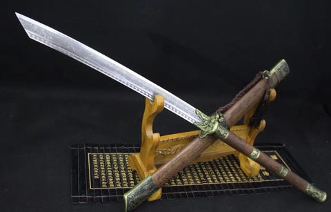 Kangxi sword,High carbon steel etch blade,Alloy,Rosewood