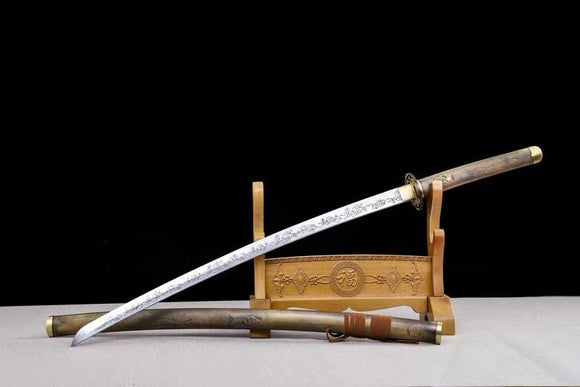 Sakura samurai swords,High carbon steel blade,Brass scabbard