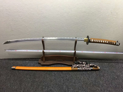 Nihontou Tachi,Nodachi,Medium carbon steel,Wood scabbard,Alloy tosogu