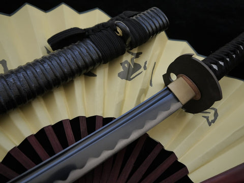 Japanese Samurai Katana Sword,Medium carbon steel black blade,Wood scabbard,Iron Tsuba,Full tang,Length 39 inch - Chinese sword shop