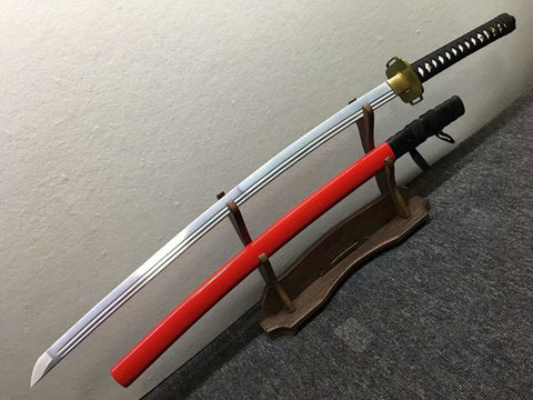 katana,High manganese steel blade,Red black scabbard,Alloy