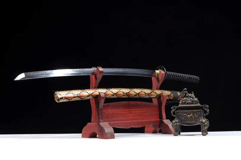 katana,High carbon steel burn blade,Snake skin texture scabbard - Chinese sword shop