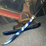 katana(Folding steel blue blade,Blue Scabbard,Alloy Tosogu)Full tang - Chinese sword shop