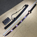 Purple Katana,High carbon steel blade,Leather scabbard,Full tang