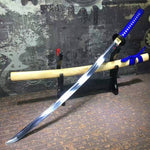 Samurai sword-High carbon steel blade-Ecru wood scabbard-Alloy fitted