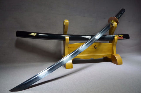 Katana(T10 high carbon steel burn blade,Black scabbard,Brass fitted)Full tang,Length 39""