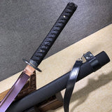 Purple Katana,High carbon steel blade,Leather scabbard,Full tang - Chinese sword shop