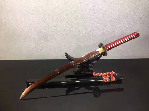 Niger Sabre,katana(Folding pattern steel red blade,Wood Scabbard,Alloy fittings)Full tang,Length 35""