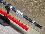 Ninja Sword(T10 high-carbon steel burn blade,Red scabbard,Alloy fitted)Full tang,Length 39""