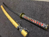 Nihontou Katana,Medium carbon steel blade,Yellow scabbard,Alloy - Chinese sword shop