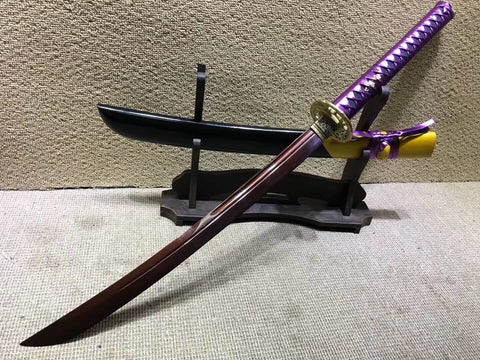 "Niger Sabre,Damascus steel dark red blade,Solid wood scabbard,Brass fittings,Length 34"" - Chinese sword shop"