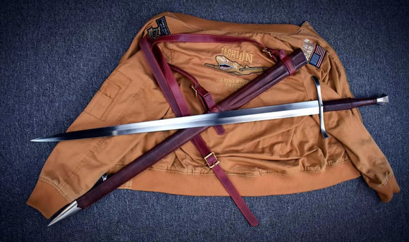 Mighty sword,High manganese steel/Full tang/Leather Scabbard - Chinese sword shop