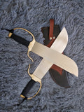 Wing chun Eight cut knife,Stainless steel blade,Leather,Brass